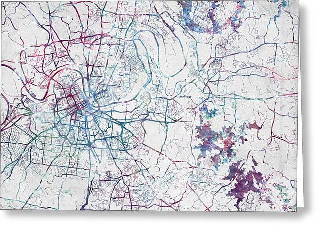 Nashville Map Painting Greeting Card by Map Map Maps