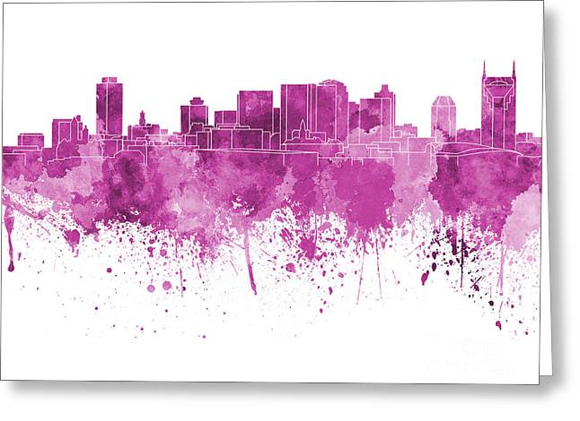 Tennessee Landmark Paintings Greeting Cards - Nashville skyline in pink watercolor on white background Greeting Card by Pablo Romero