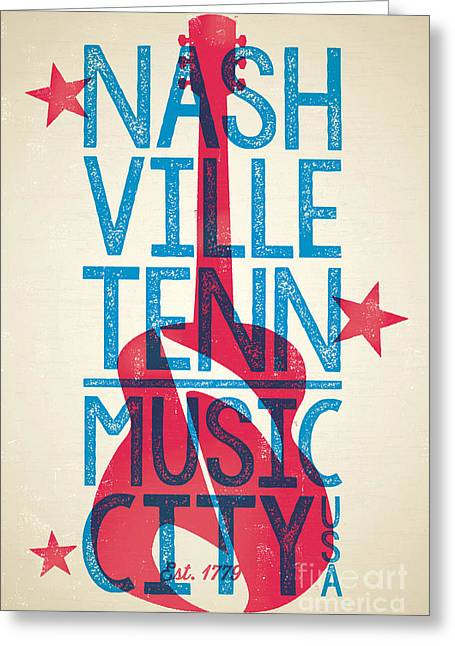 Silkscreen Greeting Cards - Nashville Tennessee Poster Greeting Card by Jim Zahniser