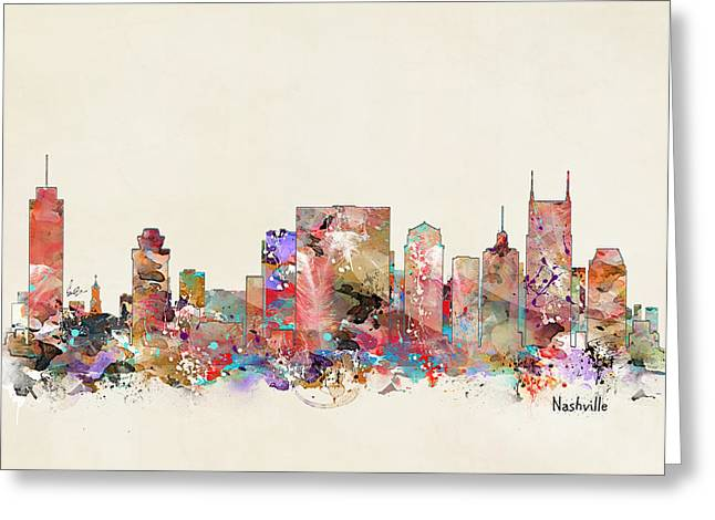 Nashville Greeting Cards - Nashville Tennessee Skyline Greeting Card by Bri Buckley