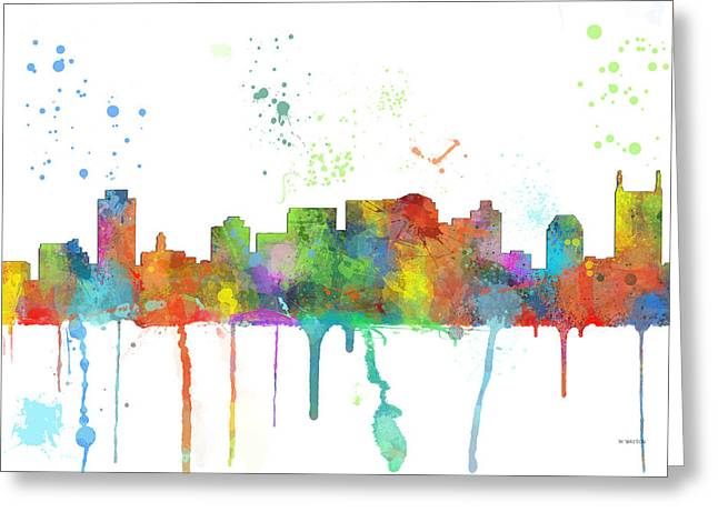 Tn Digital Art Greeting Cards - Nashville Tennessee Skyline Greeting Card by Marlene Watson