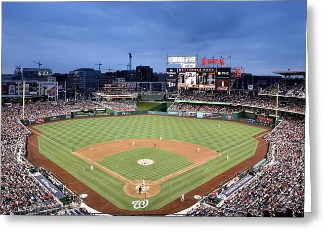 Washington Dc Baseball Greeting Cards - Nats Park - Washington DC Greeting Card by Brendan Reals