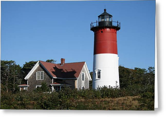 Nauset Lighthouse Greeting Card by Gina Cormier