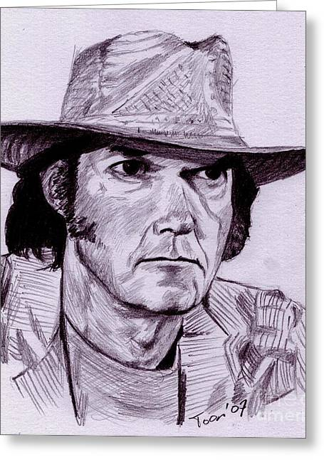 Neil Young Drawings Greeting Cards - Neil Young Greeting Card by Toon De Zwart
