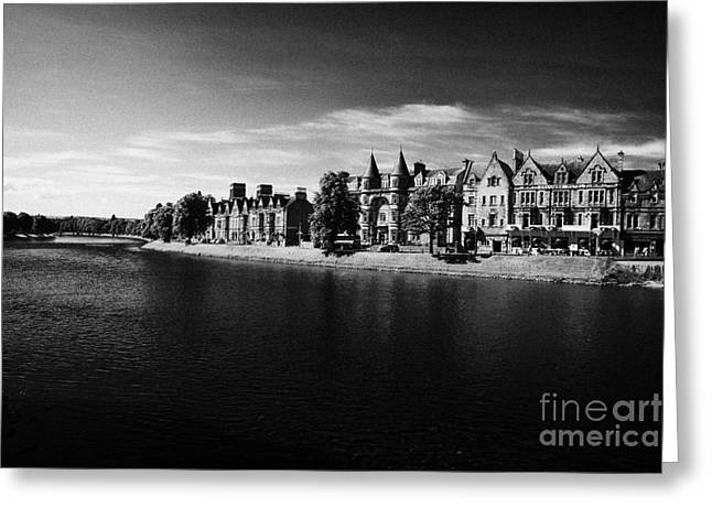 Palace Hotel Greeting Cards - Ness Walk By River Ness Flowing Through Inverness City Highland Scotland Uk Greeting Card by Joe Fox