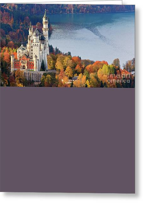 Print Greeting Cards - Neuschwanstein Castle in Autumn Colours Greeting Card by Henk Meijer Photography