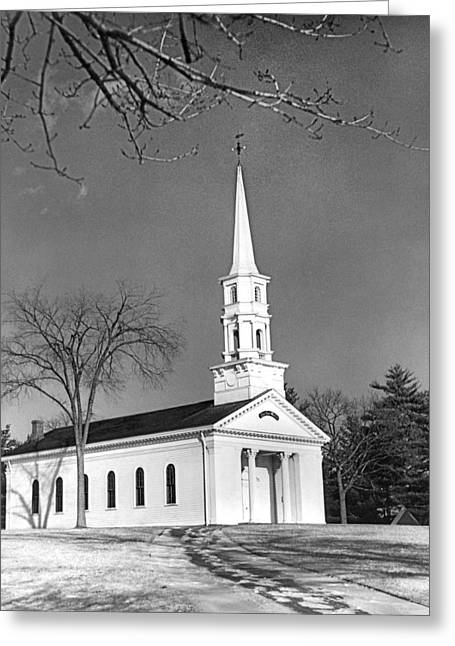 Martha Mary Chapel Greeting Cards - New England Church Greeting Card by Underwood Archives