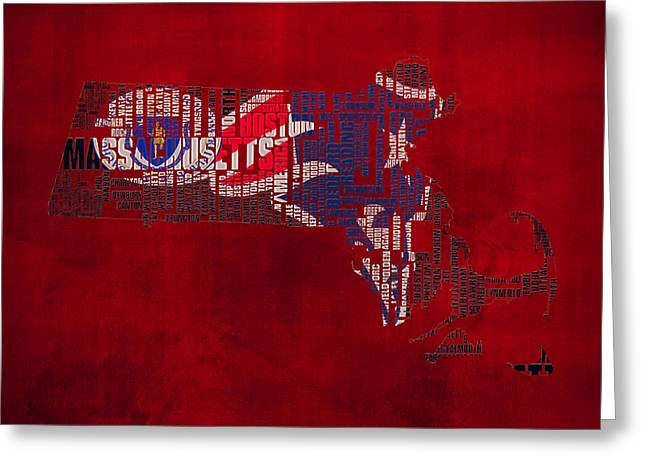 Mayflower Mixed Media Greeting Cards - New England Patriots Typographic Map 02 Greeting Card by Brian Reaves