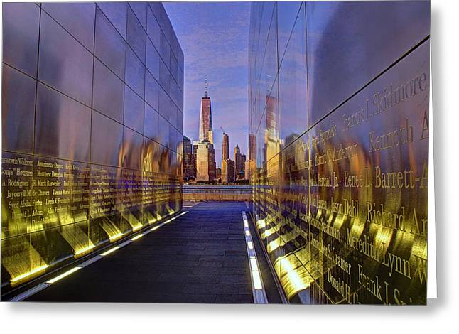 Wtc 11 Greeting Cards - New Jersey Empty Sky 9-11 Memorial Greeting Card by Allen Beatty