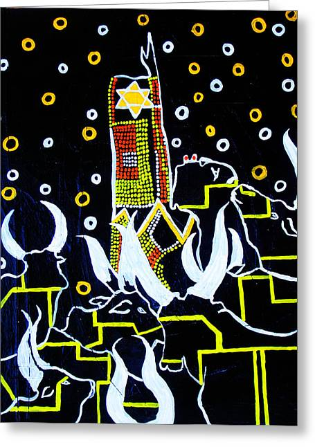 People Paintings Greeting Cards - New Nation - South Sudan Greeting Card by Gloria Ssali