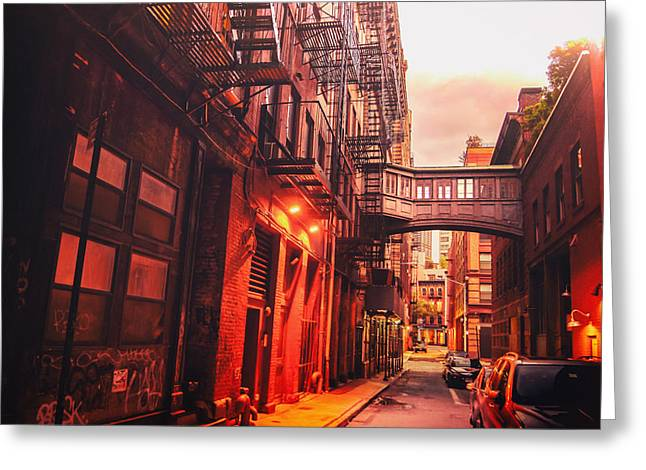 Fire Escapes Greeting Cards - New York City Alley Greeting Card by Vivienne Gucwa
