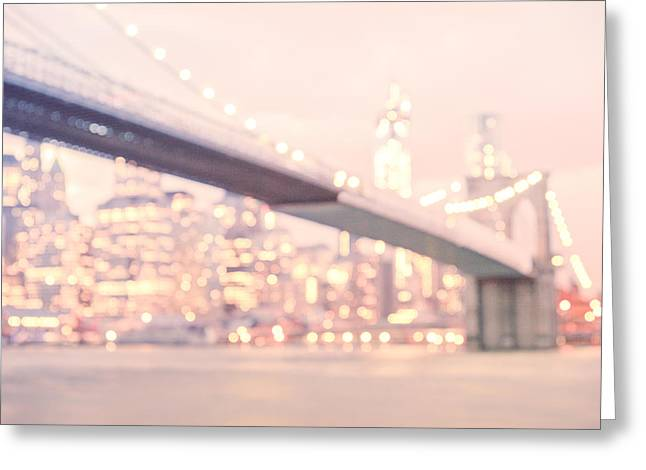 New York Photo Greeting Cards - New York City - Lights at Night Greeting Card by Vivienne Gucwa