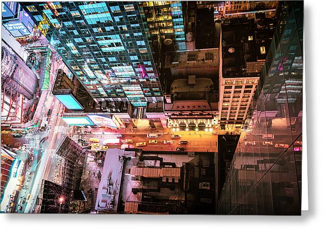 From Above Greeting Cards - New York City - Night Greeting Card by Vivienne Gucwa