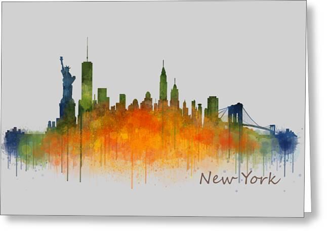 Manhatan Greeting Cards - New York City Skyline Hq v02 Greeting Card by HQ Photo