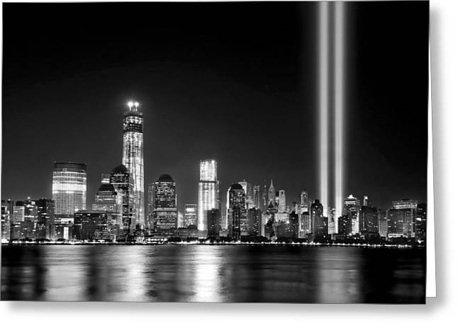 White River Scene Greeting Cards - New York City Skyline Tribute in Lights and Lower Manhattan at Night NYC Greeting Card by Jon Holiday