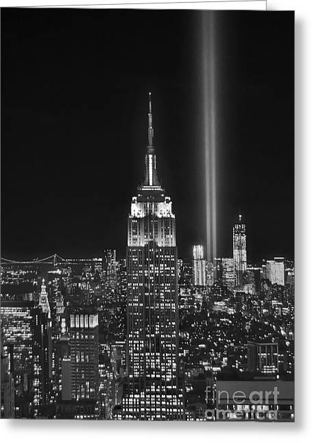 Nyc Architecture Greeting Cards - New York City Tribute in Lights Empire State Building Manhattan at Night NYC Greeting Card by Jon Holiday