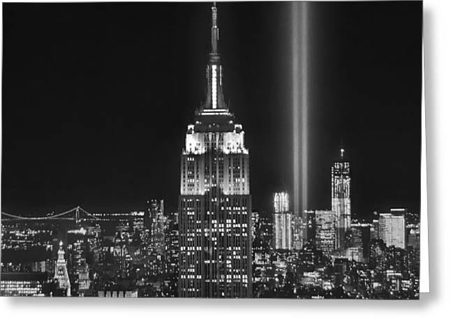 New York City Tribute in Lights Empire State Building Manhattan at Night NYC Greeting Card by Jon Holiday