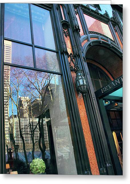 Facade Reflections Greeting Card by Jessica Jenney