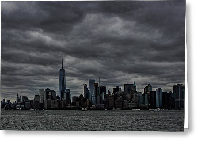 Liberty Island Greeting Cards - New York Skyline Greeting Card by Martin Newman