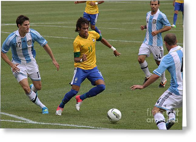 Clash Of Worlds Greeting Cards - Neymar Doing His Thing II Greeting Card by Lee Dos Santos