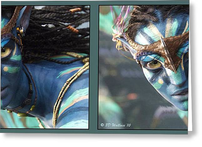 Side Braid Greeting Cards - Neytiri - Gently cross your eyes and focus on the middle image Greeting Card by Brian Wallace