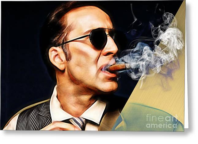 Nicolas Cage Collection Greeting Card by Marvin Blaine
