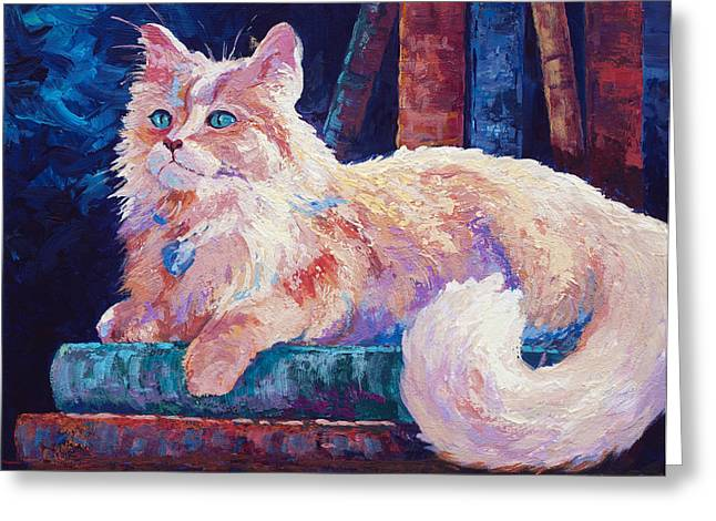 Domestic Cat Greeting Cards - Nietzsche Greeting Card by Marion Rose