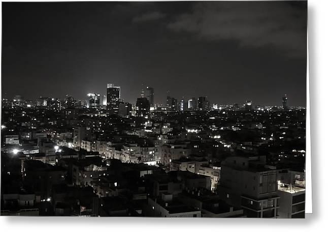 Tels Greeting Cards - Night in Tel Aviv Greeting Card by Javna Last