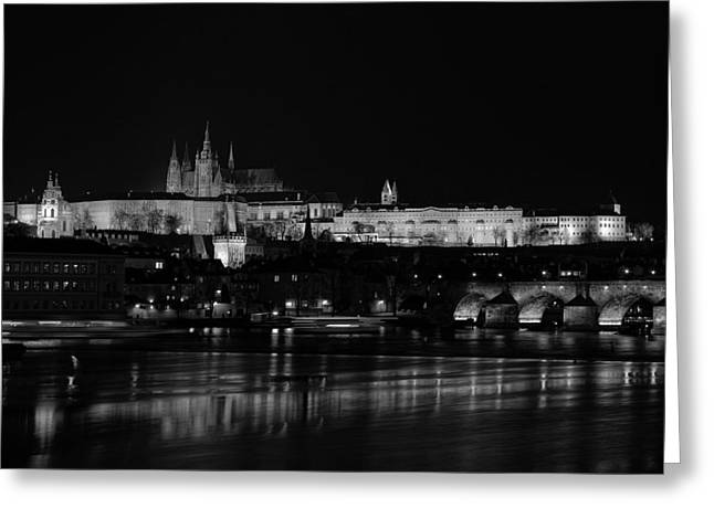 Palace Bridge Greeting Cards - Night Reflections of Prague Greeting Card by Jiri
