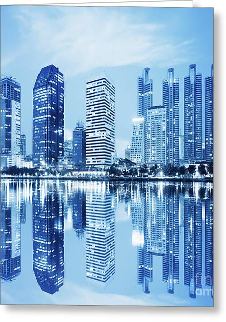 Corporate Business Greeting Cards - Night Scenes Of City Greeting Card by Setsiri Silapasuwanchai