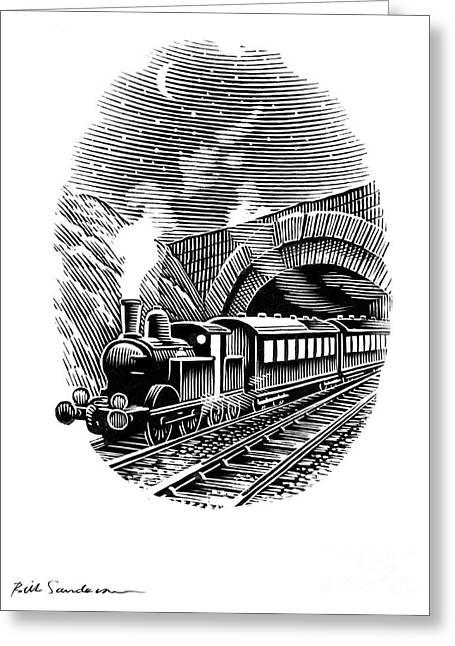Linocut Greeting Cards - Night Train, Artwork Greeting Card by Bill Sanderson