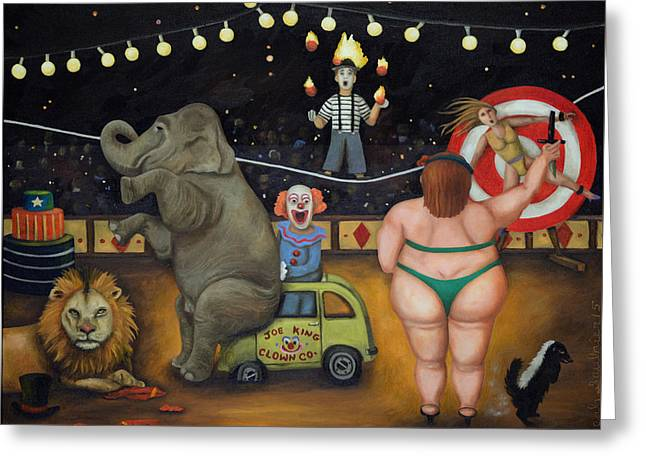 Nightmare Circus Greeting Card by Leah Saulnier The Painting Maniac
