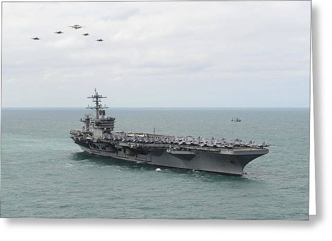 Nimitz-class Greeting Cards - Nimitz-class aircraft carrier USS Theodore Roosevelt Greeting Card by Celestial Images