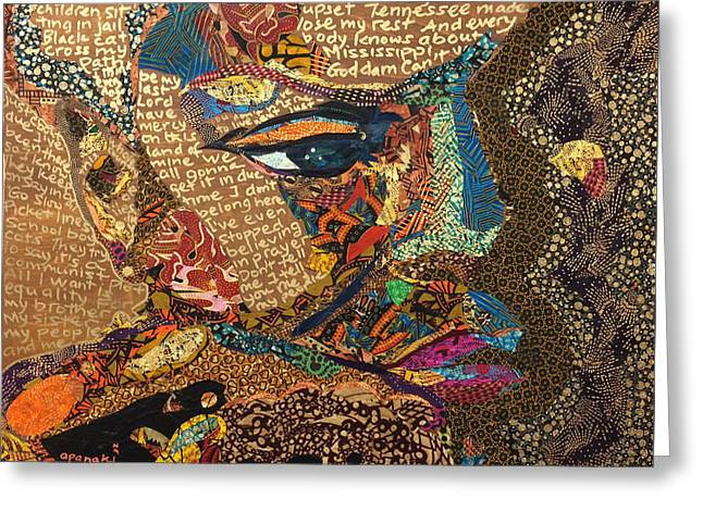 Nina Simone Fragmented- Mississippi Goddamn Greeting Card by Apanaki Temitayo M
