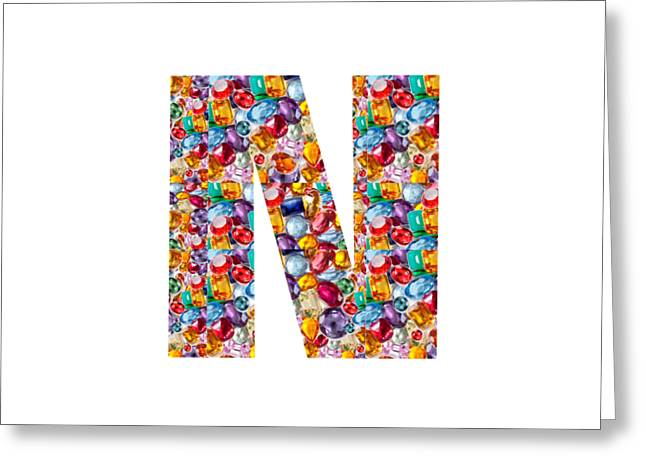 Colorful Jewelry Greeting Cards - NNN nn n  Alpha Art on Shirts alphabets initials   shirts jersey t-shirts v-neck by NavinJoshi Greeting Card by Navin Joshi