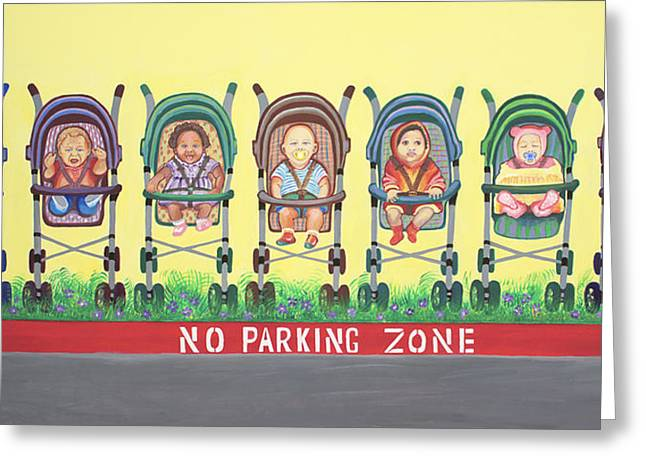 Childre Greeting Cards - No Parking Zone Greeting Card by Kenji Tanner