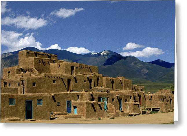Adobe Digital Greeting Cards - North Pueblo Taos Greeting Card by Kurt Van Wagner