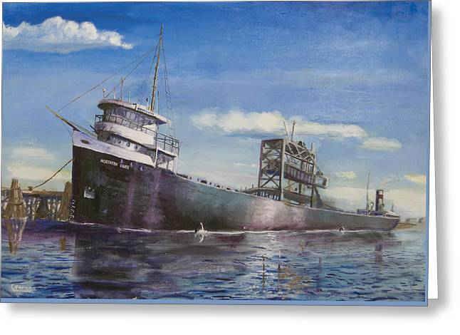 Ship Greeting Cards - Northern Lights Greeting Card by Christopher Jenkins