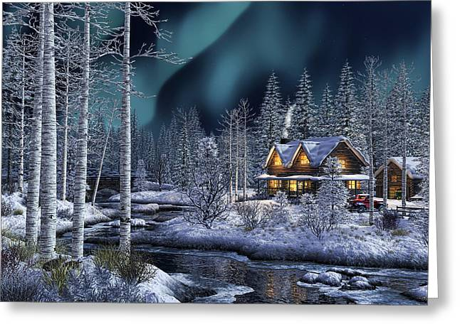 Best Sellers -  - Log Cabins Greeting Cards - Northern Lights Greeting Card by Randy Earles