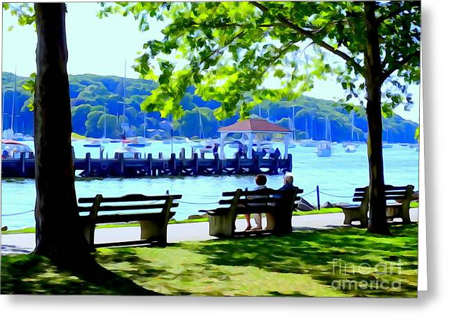 Blue Green Water Greeting Cards - Northport Afternoon Greeting Card by Ed Weidman