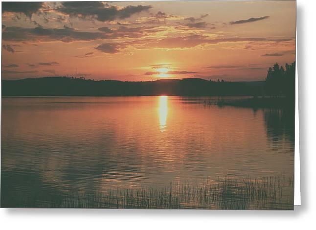 Norwegian Sunset Greeting Cards - Norwegian Sunset Greeting Card by Schnorx
