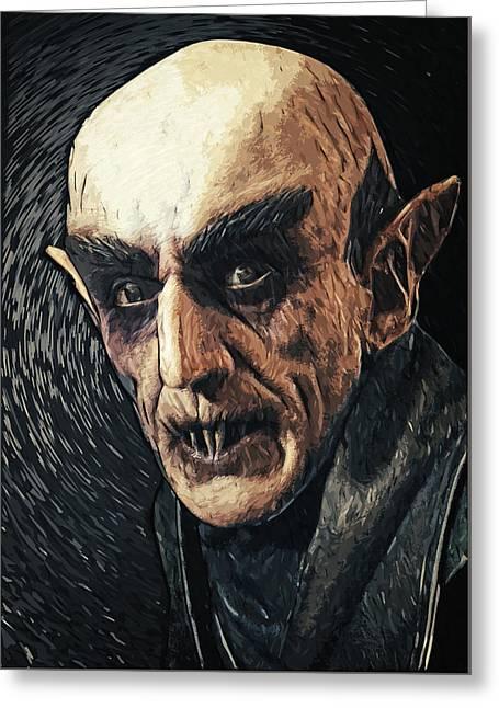 Dracula Digital Greeting Cards - Nosferatu Greeting Card by Taylan Soyturk