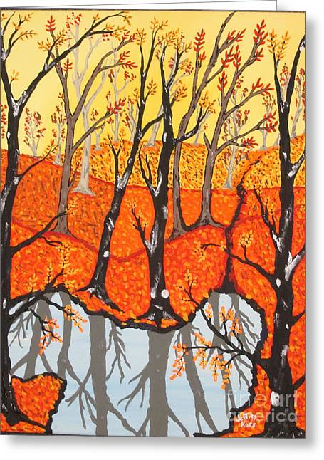 Autumn Leaf On Water Paintings Greeting Cards - November Morning  Greeting Card by Jeffrey Koss