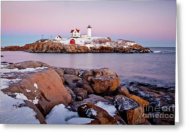 Nubble Winter Dusk Greeting Card by Susan Cole Kelly