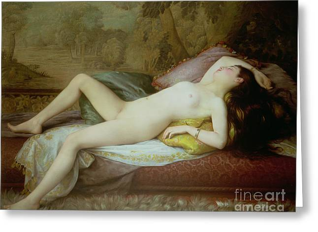 Chaise Greeting Cards - Nude lying on a chaise longue Greeting Card by Gustave-Henri-Eugene Delhumeau