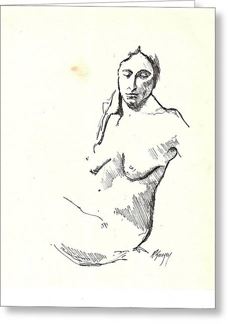 Nude Three Greeting Card by R  Allen Swezey