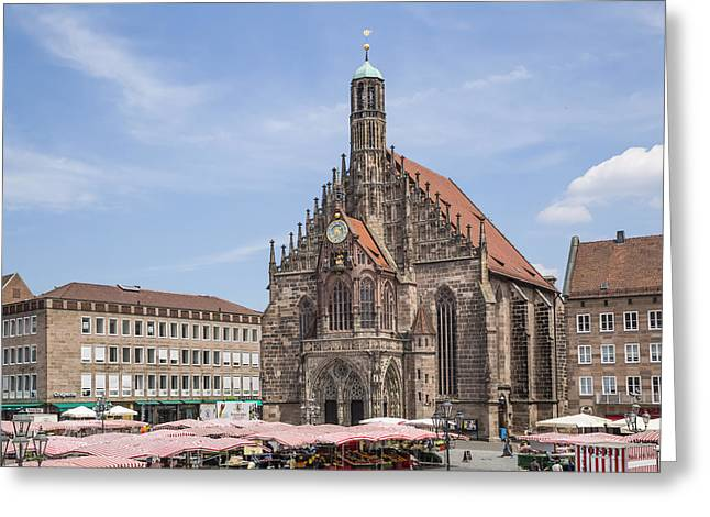Frauenkirche Greeting Cards - NUREMBERG Church of Our Lady and Main Market Greeting Card by Melanie Viola