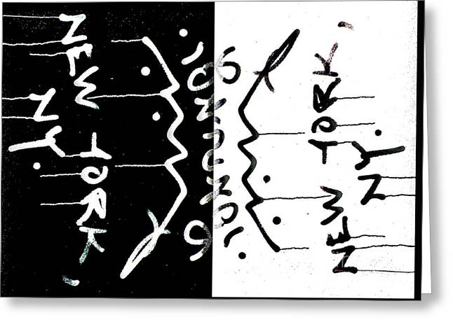 Nyc Graffiti Greeting Cards - NYC Graffiti Abstract in Black and White Greeting Card by ArtyZen Studios - ArtyZen Home