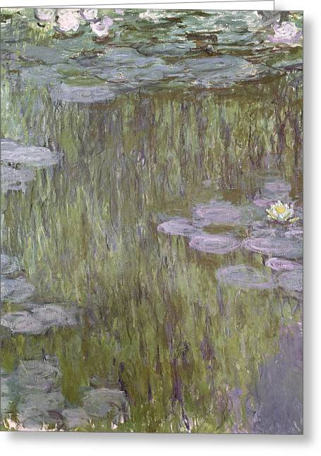 Weeping Greeting Cards - Nympheas at Giverny Greeting Card by Claude Monet
