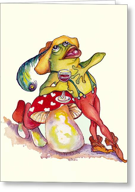 Toadstools Mixed Media Greeting Cards - O Solo Mio Greeting Card by Peggy Wilson
